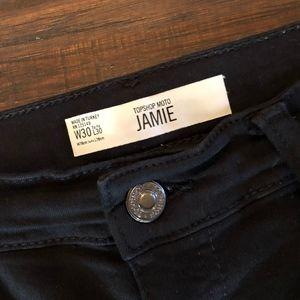 Topshop Moto Jaime Black Skinny Jeans High Waist